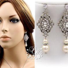 Wedding Earrings Swarovski Pearl rhinestone Zirconia Ear post Bridal earrings Wedding Jewelry Bridal accessory, rhombus
