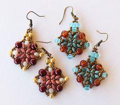 Earrings in super duo beads by Artepolis on Etsy
