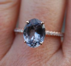 Rose gold engagement ring 2.67ct Blue grey sapphire diamond ring 14k rose gold oval sapphire
