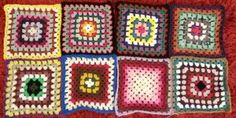 Crocheted granny squares made for The Remembering Tree, a yarnbombing project in Stratford-upon-Avon to raise awareness and money for the charity Goodwill and Growth for Africa (GAGA UK) © LIsa Benjamin www.handmadeflowers.co.uk