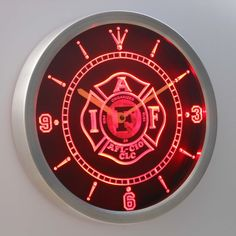 Fire Rescue Fire Fighter Fire Department Neon LED Wall Clock
