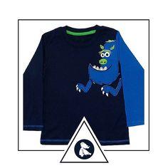 """Blusa """"Pega-pega com o grande monstro azul"""". Compre em www.azulparameninas.com.br . Porque roupas infantis precisam ser divertidas!   Frete Grátis! Embalada para presente sem custo adicional! .  #azulparameninas #roupasinfantis #roupascriativas #childrenclothes #creativeclothes #monstrinho"""