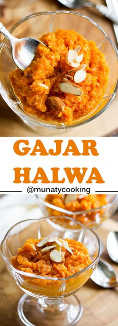 Gajar Halwa or Gajar Ka Halwa, an Indian dessert made of carrot and milk, perfumed with saffron and cardamom. Served in wedding and special occasions. Paneer Tikka, Chicken Tikka Masala, Indian Dessert Recipes, Indian Sweets, Gajar Ka Halwa, Sweet Carrot, India Food, Chutney Recipes, Indian Dishes