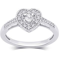 1/5 CTTW Diamond Heart Engagement Ring by Brilliant Diamond7 ($112) ❤ liked on Polyvore featuring jewelry, rings, jewelry & watches, heart shaped rings, engagement rings, heart engagement rings, heart ring and heart shaped diamond ring
