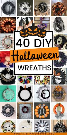 Here are 40 of the absolute best DIY Halloween wreaths. From cute and kid friendly to super spooky there is a wreath to fit every decor preference. Scary Halloween Decorations, Halloween Wreaths, Halloween Crafts For Kids, Spooky Halloween, Halloween Stuff, Halloween Projects, Halloween Halloween, Vintage Halloween, Halloween Makeup