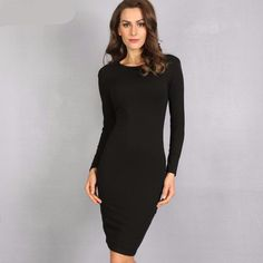 Bodycon Winter Dress Women Office Work Long Sleeve Sexy Black Midi Dress Robe  #clothes #women #fashion #clothe #woman #dress