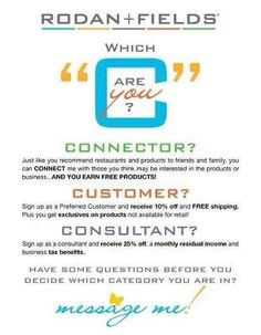 Looking for consultants, customers and connectors! If you know someone who might benefit from learning more about Rodan + Fields products or the business, please send them my way! I love giving referral gifts!! It's a win-win for everyone!   https://alysonking.myrandf.com/ (Amazing PRODUCT site) https://alysonking.myrandf.biz/ (Amazing LIFE site)