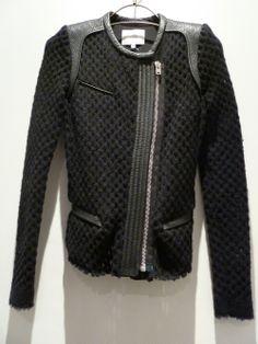 jacket leather wool Veste Iro Lina via place des lices. La Rochelle