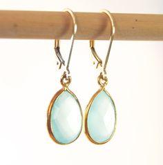 Keha earrings -  aqua chalcedony gold drop earrings - made in hawaii - www.kealohajewelry.com