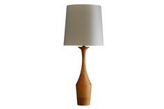 Taza hevea wood lamp base (Natural)  - Copper & Silk