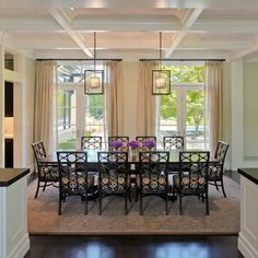 Traditional Dining Rooms Design Ideas, Pictures, Remodel and Decor the crrown molding,paint color,rug and lights