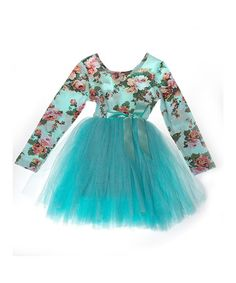 Look what I found on #zulily! Aqua Floral Long-Sleeve Tutu Dress - Infant & Toddler #zulilyfinds