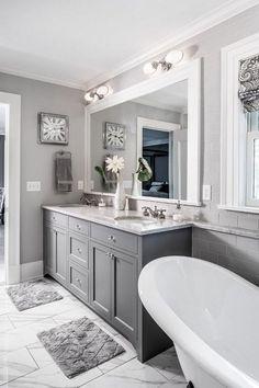 Gray Bathroom Walls, Teal Bathroom Decor, Painting Bathroom Cabinets, Gray And White Bathroom, Bathroom Red, Grey Bathrooms, Bathroom Ideas, Basement Bathroom, Gray Walls