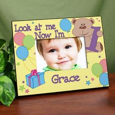 "Look at Me Personalized Birthday Picture Frames. Capture your child's most precious birthday photo and place it in this absolutely adorable Personalized Birthday Picture Frame. You can create multiple frames to record your child's birthdays by simply changing the year. Your Grandparents, Aunts, Uncles & close family members will love receiving this Personalized Birthday Frame as a special Thank You gift. Our Children's Personalized Birthday Frame measures 8"" x 10"" and holds a"