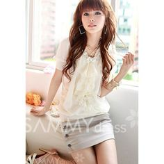 $7.94 Ladylike Flouncing Puff Sleeve Chiffon Summer Blouse For Women