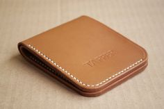 Slim Bifold Leather Wallet Light Brown by TafferLeatherGoods-SR