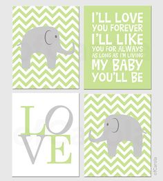 Baby Nursery Chevron Elephant PERSONALIZE Wall Art by ofCarola, $50.00