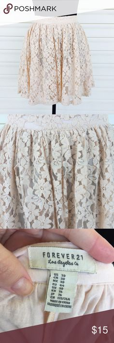 Blush lace skirt Super cute and flowy! Barely worn! Great for this spring and summer! Accepting offers! Forever 21 Skirts Circle & Skater