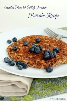 Gluten-free, flour-free, high-protein pancake recipe. Easy and quick to whip up for a healthy breakfast!