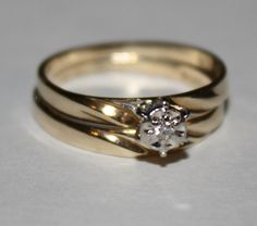 Vintage Diamond Ring 10k Yellow Gold Wedding by fairytaletreasures, $150.00
