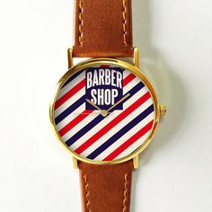 Barber Shop Watch  Vintage Style Leather Watch, Women Watches, Unisex Watch, Boyfriend Watch, Red Blue