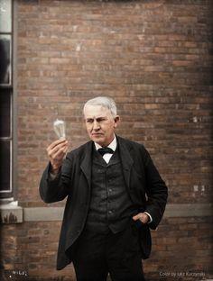 컬러 복원된 흑백사진  토마스 에디슨 (1911)