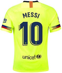 fd3155d77c4 Amazon.com  Barcelona Away Jersey 2018-2019 Men s  10 Messi Jersey Color  Green Size XL  Clothing