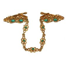 Vintage Sweater Guards Ornate Green Faux Pearl Sweater Fasteners Sweater Clasps. $30.00, via Etsy.