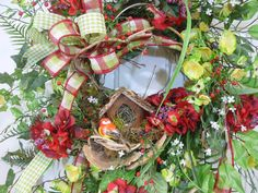 XL Summer Time Spring and Summer Door Wreath by LadybugWreaths, $229.97
