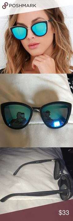 """Quay Australia Sunglasses Quay Australia Sunglasses in the style """"My Girl"""". Slightly worn. Color: blue & black. Measurements: Span across both lenses (width of sunglasses) 6in Lenses height 2.25in Lenses width 2.5in Quay Australia Accessories Sunglasses"""