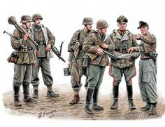 The Master Box German Soldiers, 1945 - 'Lets stop them here!' in 1/35 scale from the plastic figure models range accurately recreates the real life German infantry from World War II.