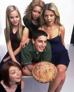 7 people, food and indoorYou can find Tara reid and more on our people, food and indoor American Pie Cast, American Pie 1999, American Pie Movies, Laura Haddock, Dougray Scott, Sienna Guillory, Mena Suvari, Claire Forlani, Kristin Scott Thomas