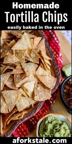 Making homemade baked tortilla chips is easy. With just three ingredients, you can have crispy, crunchy, salty, healthy tortilla chips that taste even better than the restaurant chips! #bakedtortillachips #homemadetortillachips #homemadechips Healthy Tortilla Chips, Homemade Tortilla Chips, Easy Appetizer Recipes, Best Appetizers, Healthy Snacks, Healthy Recipes, Snack Recipes, Yummy Recipes, Easy Cooking
