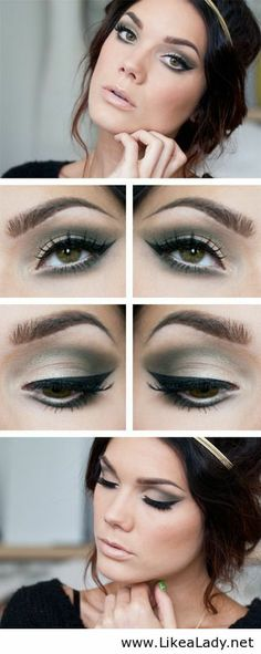 Green and black makeup for green eyes
