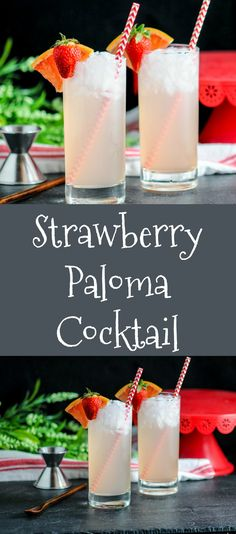 Strawberry Paloma Cocktail  tequila, grapefruit, strawberries, #tequila #cocktail #strawberry #summer