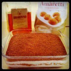 Want! Amaretto tiramisu - crunchy amaretti biscuits, fluffy mascarpone cream and sweet almond liqueur