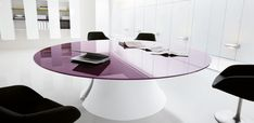 The Ola meeting table is characterized by the strong and sculptural shape of the shell bases. Ola allows you to . Round Office Table, Round Desk, Bureau Design, Design Desk, Design Table, Glass Furniture, Table Furniture, Executive Office Furniture, Office Desks