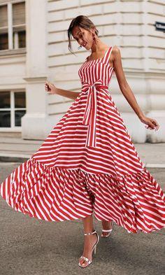 Boho Summer Beach Dress Women Spagetti Strap Red Striped Dress Plus Size Ruffle Long Maxi Dress Xxxl – Mode Outfits Striped Maxi Dresses, Women's Dresses, Casual Dresses, Short Dresses, Fashion Dresses, Summer Dresses, Hijab Casual, Dresses Online, Red Maxi