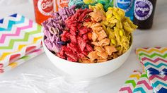 Chex™ Mix gets a makeover! This sweet, vanilla-coated version is tinted the entire spectrum of rainbow colors. Easier to make than you might imagine, just as crunchable as the original. (And a LOT more colorful! Chex Mix Recipes, Snack Recipes, Dessert Recipes, Chex Party Mix, Rainbow Birthday, 2nd Birthday, Birthday Ideas, Birthday Parties, Rainbow Food