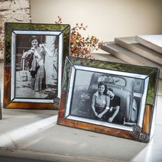 This series of #stained glass photo #frames from J. Devlin feature a unique button filigree accent. Designed using white, moss green and brown opal stained glass, each adds a touch of warmth to your favorite photos and great for #fall decor.