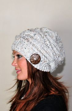 fca14651de3 Slouchy Beanie Slouchy Hat Cable Button Hat Hand Knit Winter Women Hat  CHOOSE COLOR Wheat White Fall Chunky Christmas Gift