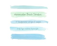 Watercolor Brush Strokes: Blue-Green by the big lake on Creative Market
