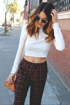 cropped sweater and plaid pants