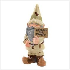Support Our Troops Gnome. Our bearded gnome in his military gear proudly shows his support for our troops. You can join in. Our soldier gnome will help you display your appreciation for our military. Gnome Statues, Garden Statues, Garden Sculptures, Gnome Garden, Lawn And Garden, Seasonal Decor, Holiday Decor, Outdoor Statues, Gnome House