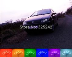 59.00$ Know more - http://ai2c4.worlditems.win/all/product.php?id=32355895639 - For Fiat PUNTO mk2 1999-2010 Excellent Angel Eyes kit Multi-Color Ultra bright RGB LED Angel Eyes Halo Rings