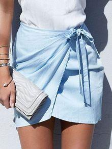 Self-Tie Asymmetric Wrap Mini Skirt