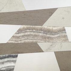 Wedge Tile - Honed Chablis Limestone, Honed Mink Limestone, Honed Storm Limestone and Polished Cebrino Onyx.