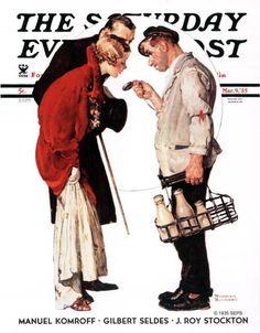 My very favorite Rockwell. He always conveyed emotions and unique moments, and this is no exception. Love the milk man scolding the happy couple for being out all night. Norman Rockwell - March 1935 Issue of The Saturday Evening Post Norman Rockwell Prints, Norman Rockwell Paintings, Caricatures, Saturday Evening Post, Mystic Messenger, American Artists, Belle Photo, Illustrators, Art Prints