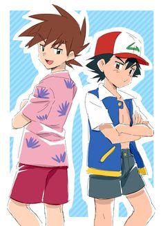 Ash Pokemon, Green Pokemon, Pokemon Ships, Pokemon Funny, Manga Girl Drawing, Satoshi Pokemon, Gary Oak, Pokemon Photo, Pokemon Couples