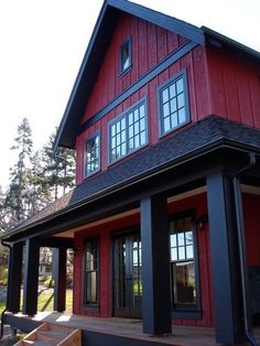 Sears Architects, Seattle, Modern cottage-style architecture, red house, black r… - Home & DIY House Paint Exterior, Dream House Exterior, Exterior House Colors, House Siding, House Exteriors, Exterior Design, Red Farmhouse, Modern Farmhouse Exterior, Modern Cottage Style